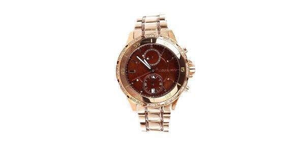 Dámské hodinky Michael Kors v barvě růžového zlata s hnědým ciferníkem