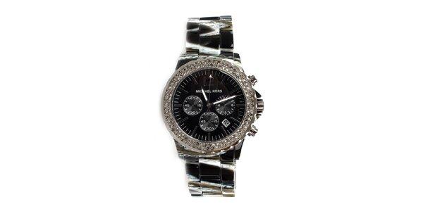 Dámské černé hodinky s krystaly Michael Kors