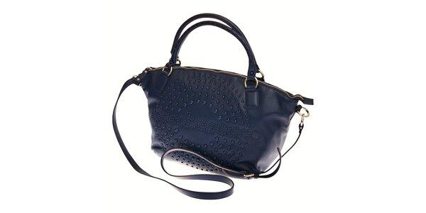 Dámská tmavě modrá kabelka Roccobarocco s perforací