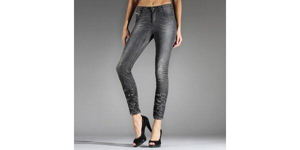 Dámské šedé skinny džíny Diesel s prodřenými nohavicemi