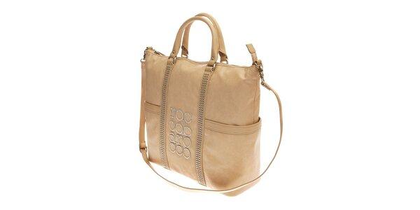 Dámská velká béžová kabelka Roccobarocco se zlatou výšivkou