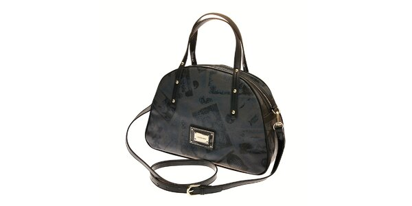 Dámská tmavě šedá kabelka Roccobarocco s černým retro potiskem