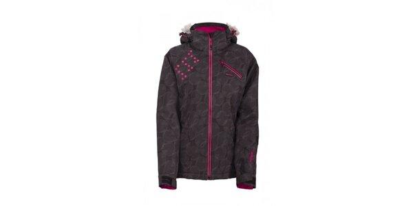 Dámská lyžařská bunda s potiskem a růžovými detaily Envy