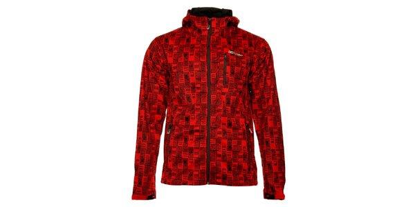 Pánská červená softshellová bunda Loap s černým potiskem