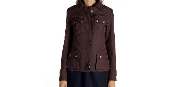 Dámský hnědý kabátek s kapsami Laga