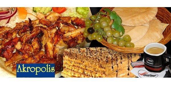 216 Kč za bohaté řecké menu pro DVĚ osoby. Gyros, tzatziki, medovník, káva.