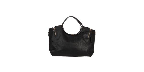 Dámská černá kabelka s ozdobnými zipy Dudlin