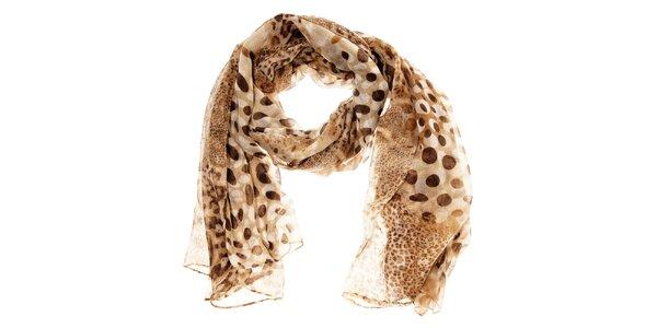Dámský světle hnědý leopardí šál Hope