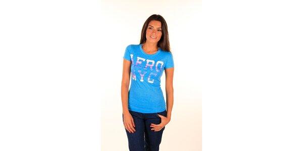 Dámské nebesky modré tričko s barevným nápisem Aéropostale