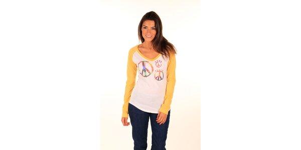 Dámské krémovo-žluté tričko s mírovým symbolem Aéropostale
