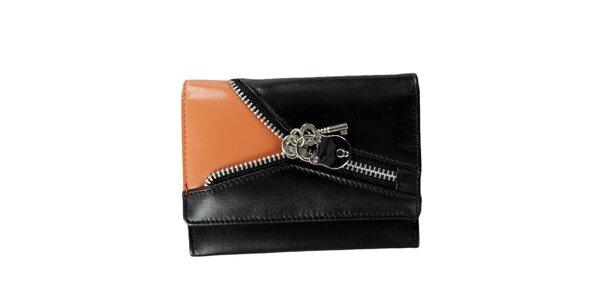 Dámská černo-oranžová peněženka se zipem Menbur