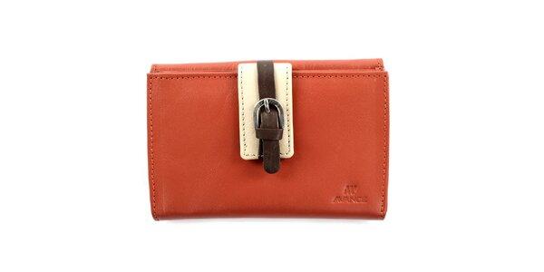 Dámská oranžová kožená peněženka s přezkou Menbur