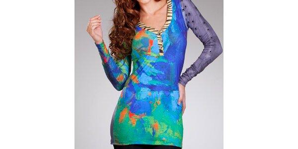 Dámské zeleno-modré šaty Culito from Spain s hlubokým výstřihem