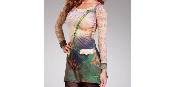 Dámské zeleno-béžové šaty Culito from Spain s falešnými kapsami