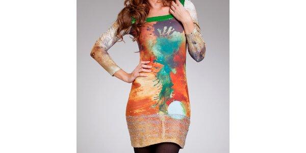Dámské oranžové vzorované šaty Culito from Spain