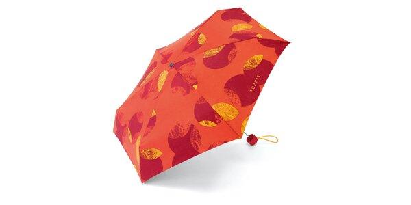 Oranžový skládací deštník se vzorem Esprit