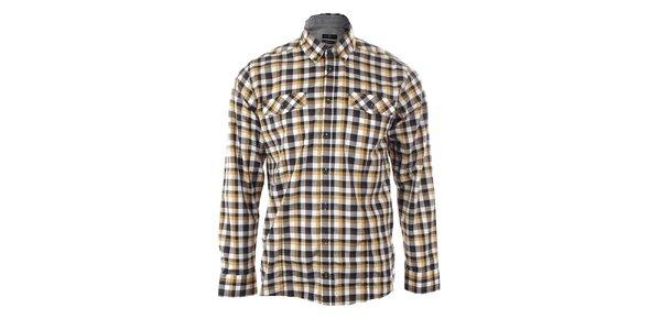 Pánská černo-hořčicová károvaná košile Pietro Filipi