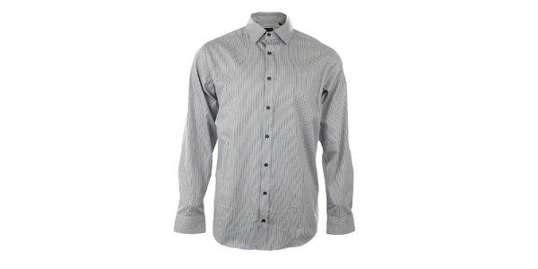 Pánská šedá košile s černým proužkem Pietro Filipi
