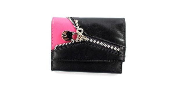 Dámská černo-růžová peněženka se zipem Menbur