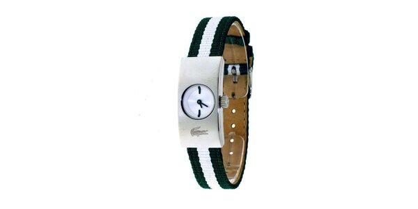 Dámské hodinky Lacoste se zeleno-bílým řemínkem