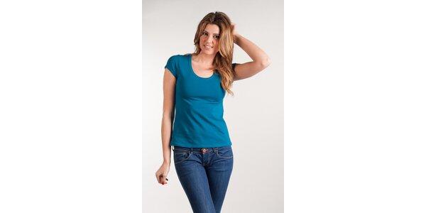 Dámské tyrkysové tričko Calvin Klein kulatý výstřih