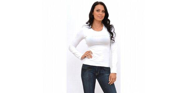 Dámské bílé tričko Calvin Klein s dlouhým rukávem