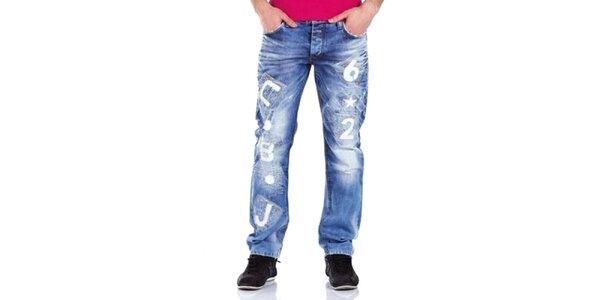 Pánské bleděmodré kalhoty Cipo & Baxx