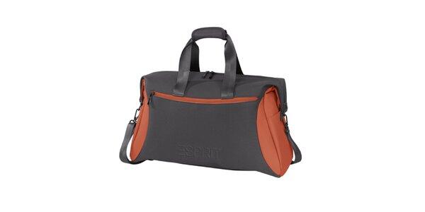 Šedo-oranžová sportovní taška Esprit