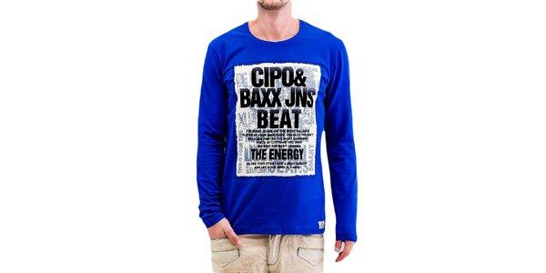 Pánské modré tričko s dlouhým rukávem Cipo & Baxx