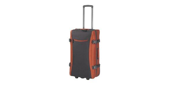 Šedo-oranžová cestovní taška na kolečkách Esprit