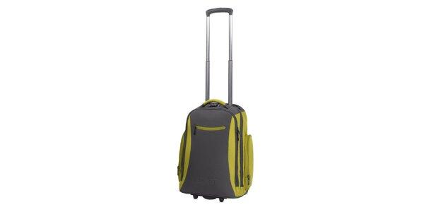 Šedo-zelený batoh na kolečkách Esprit