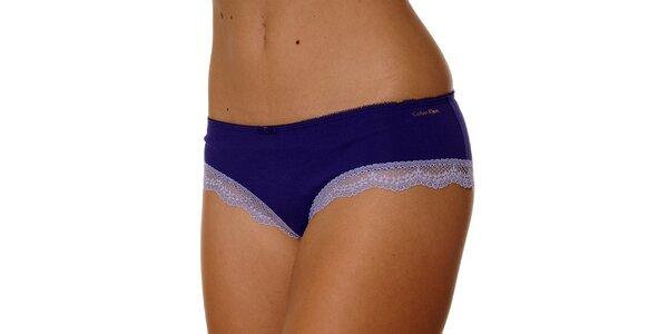 Dámské fialové kalhotky Calvin Klein s krajkou
