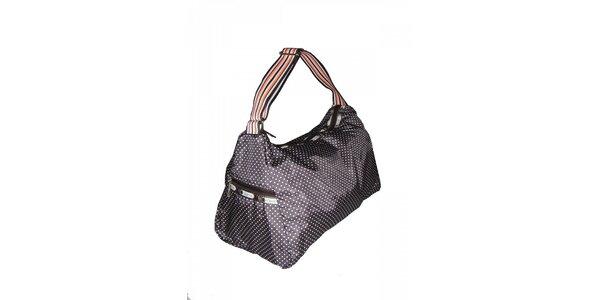 Dámská tmavě hnědá puntíkovaná kabelka LeSportsac s pruhovaným popruhem