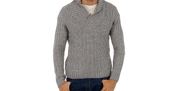 Pánský šedý pletený svetr Lotto s copánky