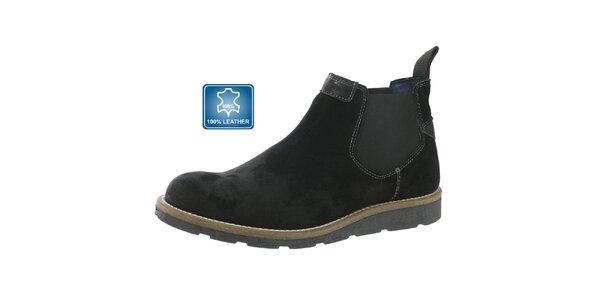 Pánské kotníčkové kožené boty Beppi černé