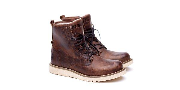Pánské hnědé kožené boty na šněrování Shoe the Bear