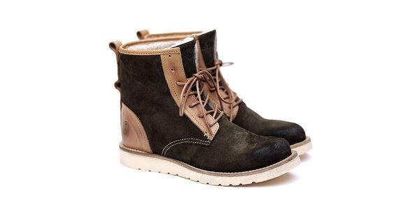 Pánské zeleno-béžové semišové boty Shoe the Bear