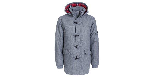 Pánský šedý zimní kabát Chico s kapucí