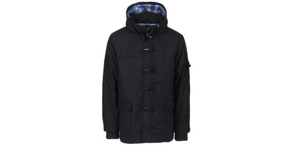 Pánský černý zimní kabát Chico s kapucí