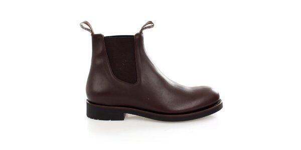 Pánské tmavě hnědé kožené chelsea boots Levis