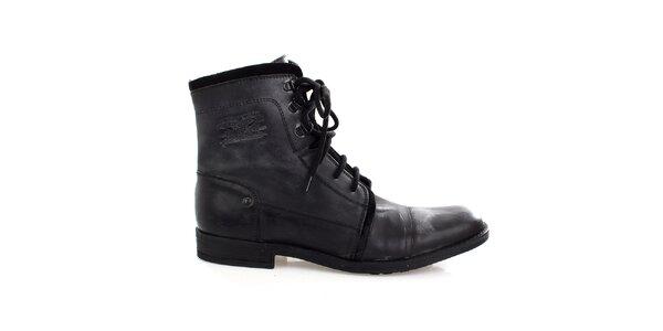 Pánské černé kožené šněrovací boty Levis