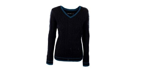 Dámský tmavě modrý véčkový svetr Exe Jeans