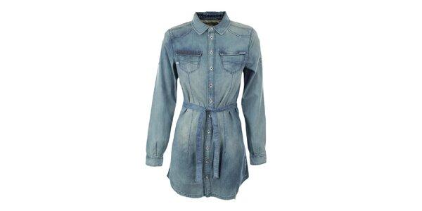 Dámská světle modrá dlouhá košile Exe Jeans