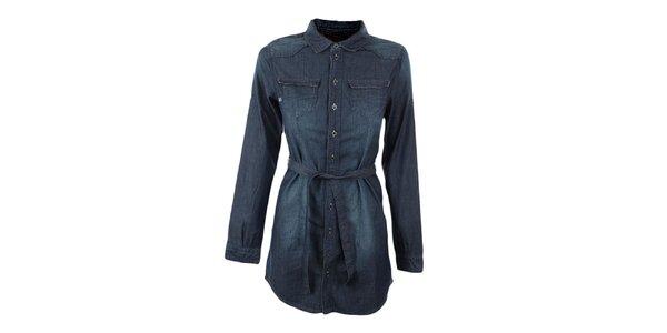 Dámská tmavě modrá dlouhá košile Exe Jeans
