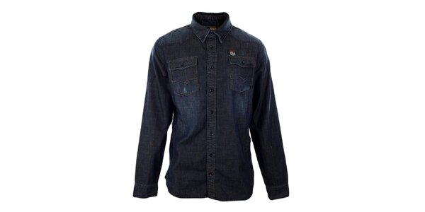Pánská tmavě modrá džínová košile Exe Jeans