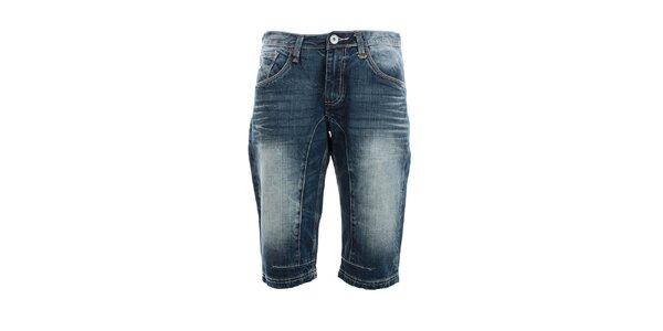 Pánské modré džínové kraťasy s šisováním Exe Jeans