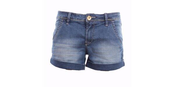 Dámské modré džínové minikraťásky Exe Jeans s ohrnutými nohavicemi