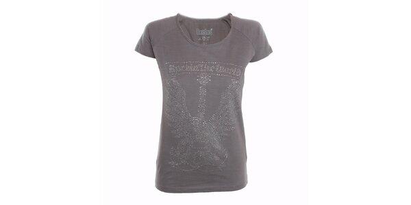 Dámské šedé tričko s kamínky Exe Jeans