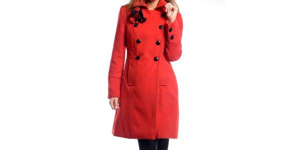 Dámský červený kabátek s květinou Estella