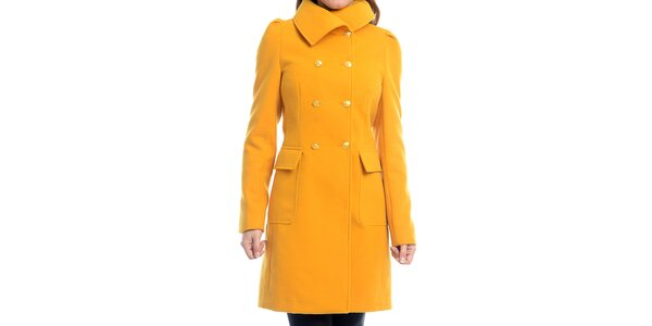 Dámský žlutý kabát na knoflíky Estella